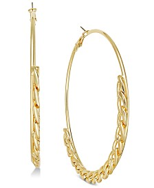 Thalia Sodi Gold-Tone Half-Link Spaghetti Hoop Earrings, Created for Macy's