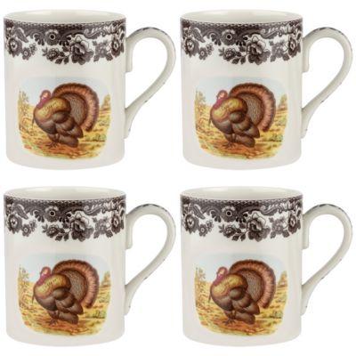 Woodland Turkey Mug Set/4