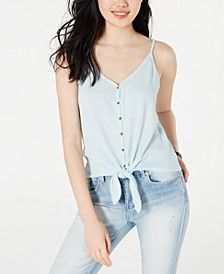 Juniors' Button-Front Tie-Waist Tank Top