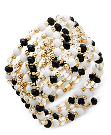 I.N.C. Gold-Tone Black & White Bead Coil Bracelet, Created for Macy's