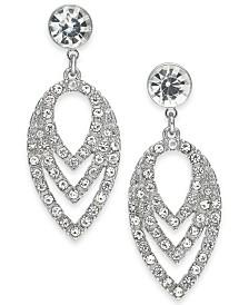 I.N.C. Silver-Tone Crystal Orbital Petal Drop Earrings, Created for Macy's