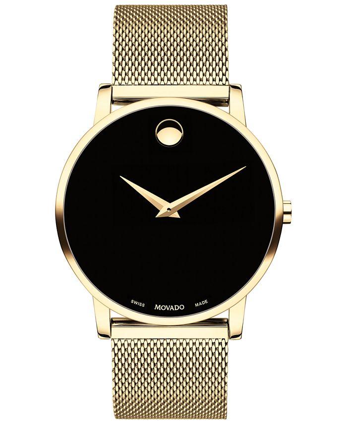 Movado - Men's Swiss Museum Gold-Tone PVD Stainless Steel Mesh Bracelet Watch 40mm