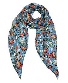 Boho Floral Silk Oblong Scarf