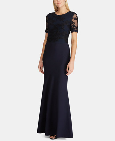 Lauren Ralph Lauren Lace-Bodice Crepe Gown