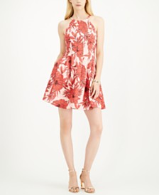 Vince Camuto Halter-Neck Fit & Flare Dress