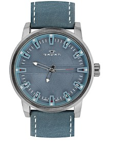 Tavan Haven Men's Watch Blue Leather Strap, Gunmetal Case, Grey Dial, 50mm
