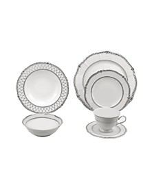 24 Piece Wavy Fine China Mix and Match Dinnerware