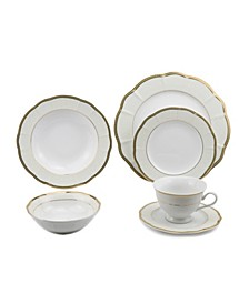 24 Piece Wavy Fine China Dinnerware