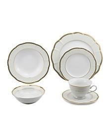 Lorren Home Trends 24 Piece Wavy Fine China Dinnerware
