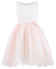 Pink & Violet Little Girls Ribbon-Waist Dress