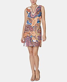 Paisley-Print Fringed Shift Dress