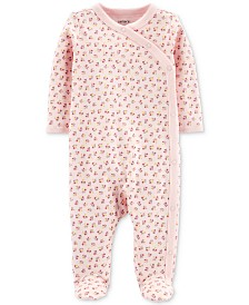 Carter's Baby Girls Floral-Print Footed Cotton Coverall