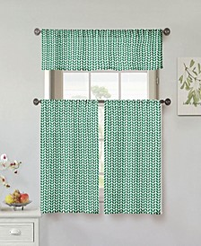 Filip Leaf Print 3-Piece Kitchen Curtain Set