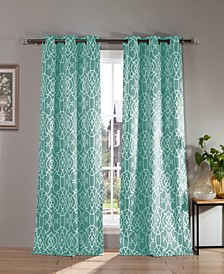 "Kit 38"" x 84"" Geometric Print Blackout Curtain Set"