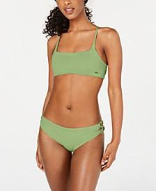 Juniors' Solid Beach Classics Strappy Bralette Bikini Top & Lace-Up Bikini Bottoms