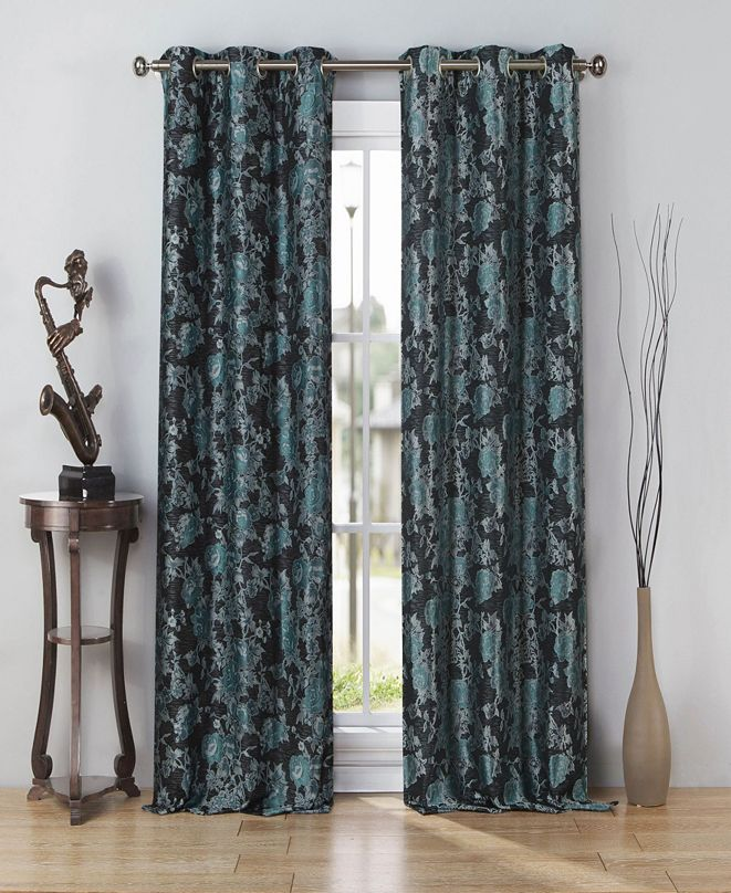 "Duck River Textile Nellie 38"" x 84"" Floral Jacquard Curtain Set"