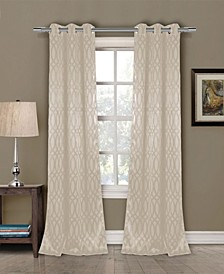 "Tayla 36"" x 84"" Tonal Geometric Print Blackout Curtain Set"
