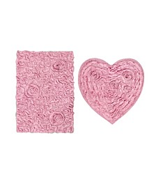 Bellflower Bath Rug Heart 2 Pc Set