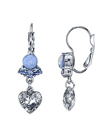 Silver Tone Lt. Blue Moonstone and Crystal Heart Lever back Drop Earrings