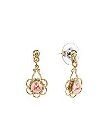 Gold-Tone Porcelain Rose Drop Earrings