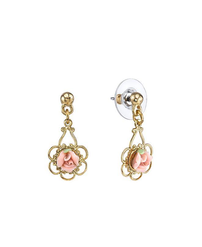 2028 Gold-Tone Porcelain Rose Drop Earrings