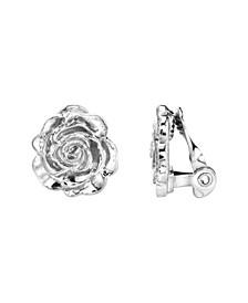 Silver-Tone Flower Button Clip Earrings