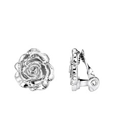 2028 Silver-Tone Flower Button Clip Earrings