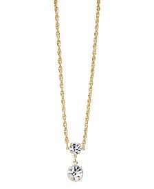 """2028 14K Gold-Dipped Genuine Swarovski Crystal Drop Necklace 16"""" Adjustable"""