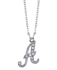 "Silver-Tone Crystal Initial Necklace 16"" Adjustable"