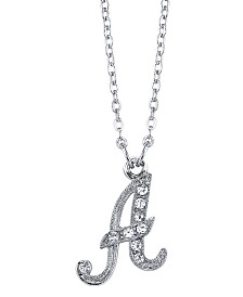 "2028 Silver-Tone Crystal Initial Necklace 16"" Adjustable"