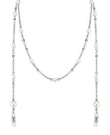 Silver-Tone Chain with Simulated Pearl Eyeglass Holder 30""