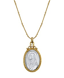 Symbols of Faith 14K Gold-Dipped Silver-Tone Crystal Virgin Mary Medallion Necklace 20""