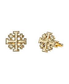 14K Gold-Dipped Jerusalem Cross Round Cuff Links