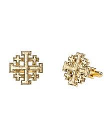 Symbols of Faith 14K Gold-Dipped Jerusalem Cross Round Cuff Links
