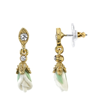 Gold-Tone Closed White Porcelain Rose Drop Earrings