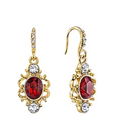 Gold-Tone Red Oval with Crystal Pave and French Scroll Filigree Drop Earrings