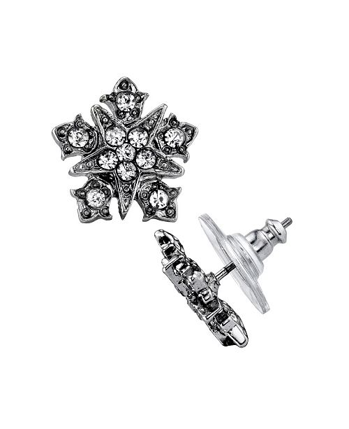Downton Abbey Silver-Tone Belle Epoch Starburst Button with Crystal Accents Post Earrings