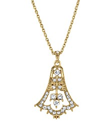 "Downton Abbey Gold-Tone Edwardian Bell with Pave Crystal Pendant Necklace 16"" Adjustable"