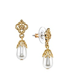 Gold-Tone Simulated Pearl Drop Earrings