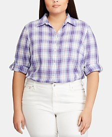 Lauren Ralph Lauren Plus-Size Plaid-Print Roll-Tab Cotton Shirt