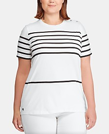 Lauren Ralph Lauren Plus-Size Stripe-Print Top