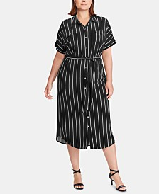 Lauren Ralph Lauren Plus-Size Stripe-Print Stretch Jersey Midi Shirtdress