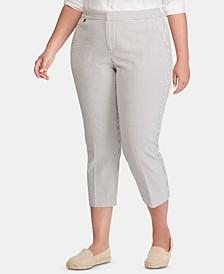 Plus-Size Seersucker Skinny Pants