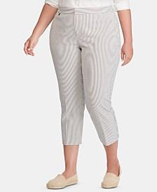Lauren Ralph Lauren Plus-Size Seersucker Skinny Pants