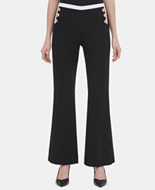 Calvin Klein Button-Trim Wide-Leg Pants