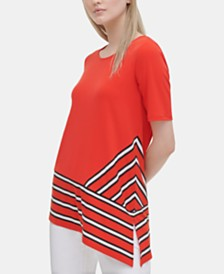 Calvin Klein Placed-Print Asymmetric Top