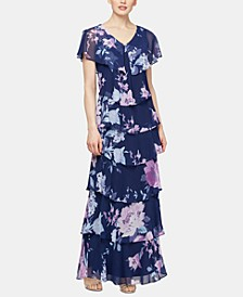 Tiered Floral-Print Gown