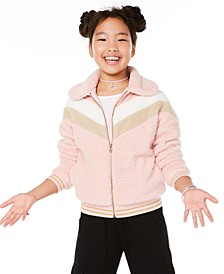 Big Girls Chevron-Stripe Teddy Jacket, Created for Macy's