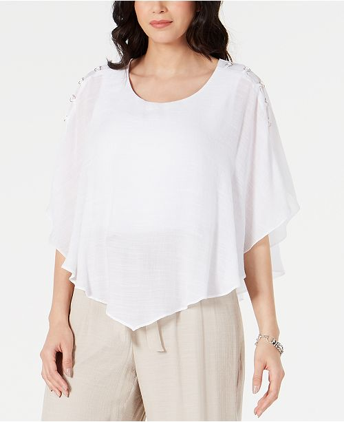 JM Collection Gauze Cape Gauze Top, In Regular and Petite, Created for Macy's