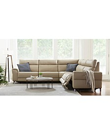 CLOSEOUT! Raymere Fabric & Leather Power Reclining Sectional Sofa Collection, Created for Macy's